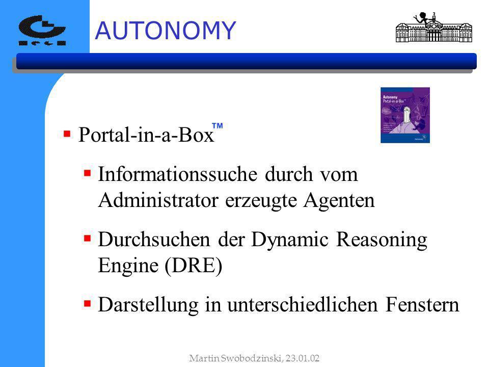 AUTONOMY Martin Swobodzinski, 23.01.02 Portal-in-a-Box Informationssuche durch vom Administrator erzeugte Agenten Durchsuchen der Dynamic Reasoning Engine (DRE) Darstellung in unterschiedlichen Fenstern