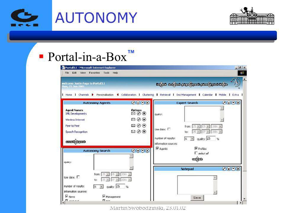 AUTONOMY Martin Swobodzinski, 23.01.02 Portal-in-a-Box