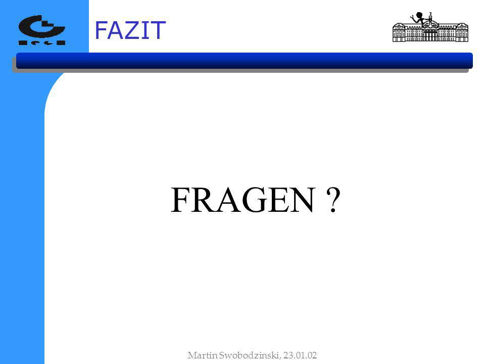 FAZIT FRAGEN ? Martin Swobodzinski, 23.01.02