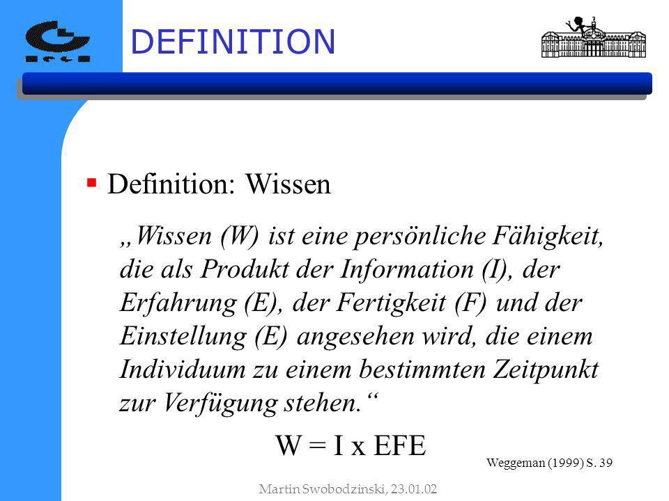DEFINITION Definition: Wissen Wissen (W) ist eine persönliche Fähigkeit, die als Produkt der Information (I), der Erfahrung (E), der Fertigkeit (F) und der Einstellung (E) angesehen wird, die einem Individuum zu einem bestimmten Zeitpunkt zur Verfügung stehen.