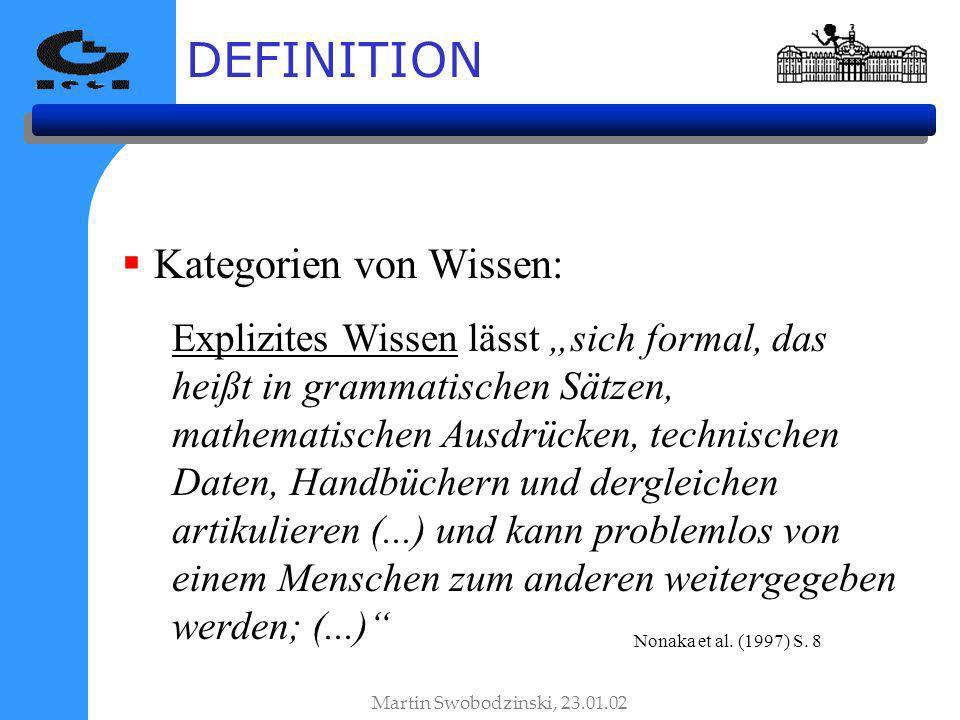 DEFINITION Kategorien von Wissen: Explizites Wissen lässt sich formal, das heißt in grammatischen Sätzen, mathematischen Ausdrücken, technischen Daten