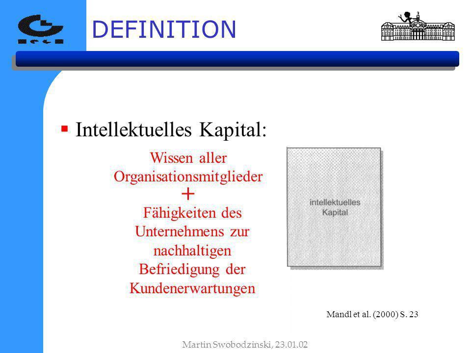 DEFINITION Intellektuelles Kapital: Mandl et al. (2000) S. 23 Martin Swobodzinski, 23.01.02 Wissen aller Organisationsmitglieder Fähigkeiten des Unter