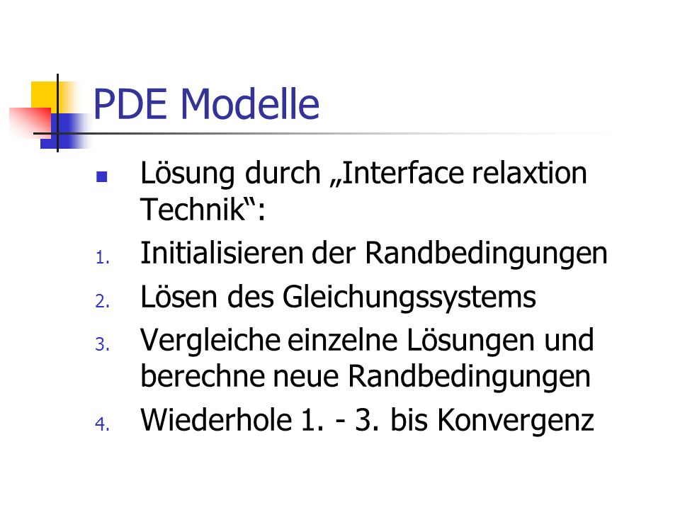 Lösung durch Interface relaxtion Technik: 1.Initialisieren der Randbedingungen 2.