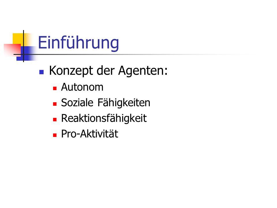 Einführung Konzept der Agenten: Autonom Soziale Fähigkeiten Reaktionsfähigkeit Pro-Aktivität