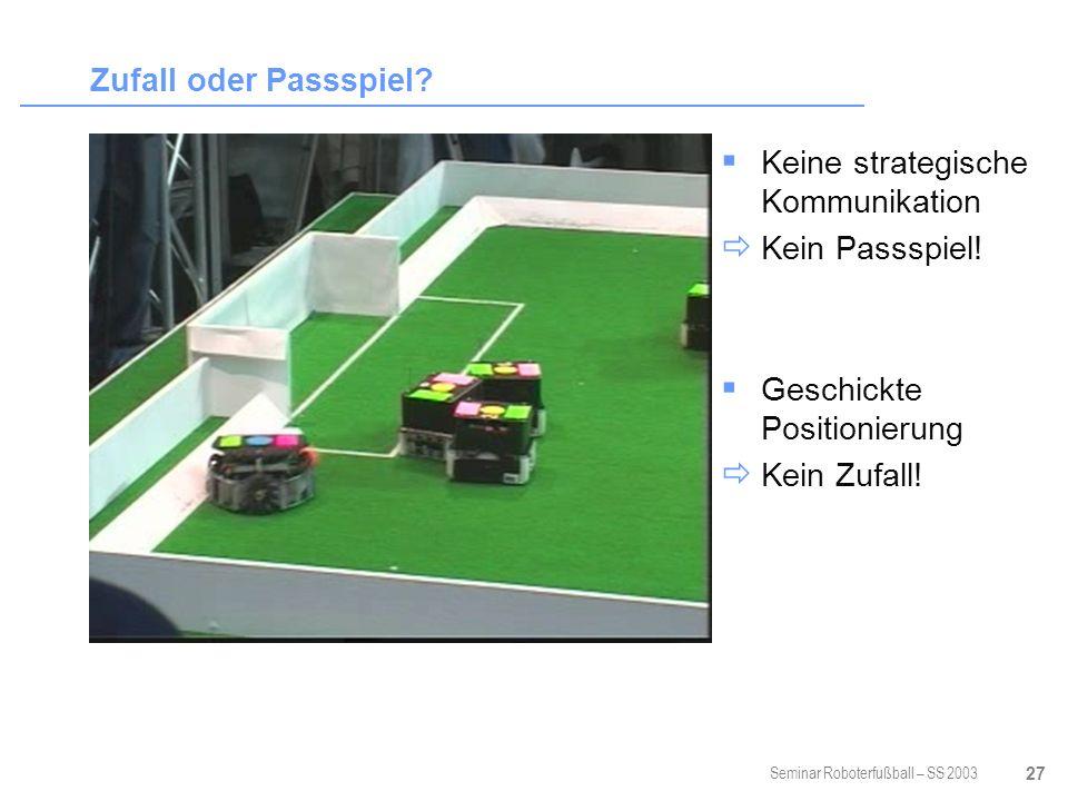 Seminar Roboterfußball – SS 2003 27 Zufall oder Passspiel.