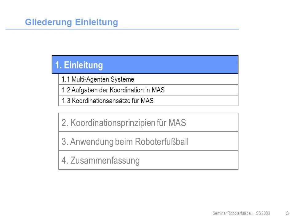 Seminar Roboterfußball – SS 2003 24 Kommunikationsregeln der Small-sized League Kommunikation nicht beschränkt (nur durch technische Möglichkeiten) Zentral verfügbares Bild der Welt (Weltmodell) Wahrnehmung und Weltmodell für alle Roboter gleich.