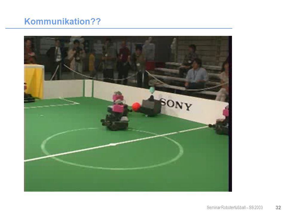 Seminar Roboterfußball – SS 2003 32 Kommunikation??