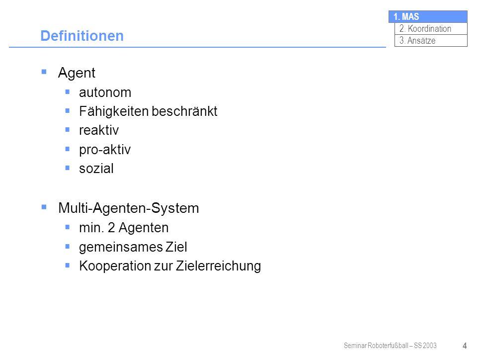 Seminar Roboterfußball – SS 2003 4 Definitionen Agent autonom Fähigkeiten beschränkt reaktiv pro-aktiv sozial Multi-Agenten-System min.