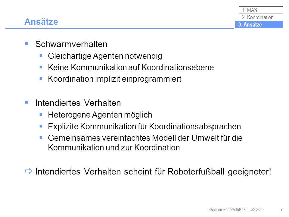 Seminar Roboterfußball – SS 2003 38 Zusammenfassung Koordination vielfältig erfolgreich umgesetzt Kommunikation auf taktischer Ebene bei unvollständiger Information wichtig Rollenabstimmung Taktikauswahl Passspiel.