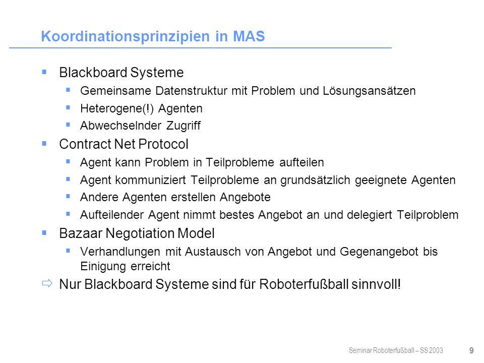 Seminar Roboterfußball – SS 2003 10 Intention Vorhaben eines einzelnen Agenten bedeutet Problem für den Agenten, welches er lösen muss schränkt Existenz weiterer Intentionen ein Aufzeichnung des Erfolges auf dem Weg zur Zielerreichung, ggf.