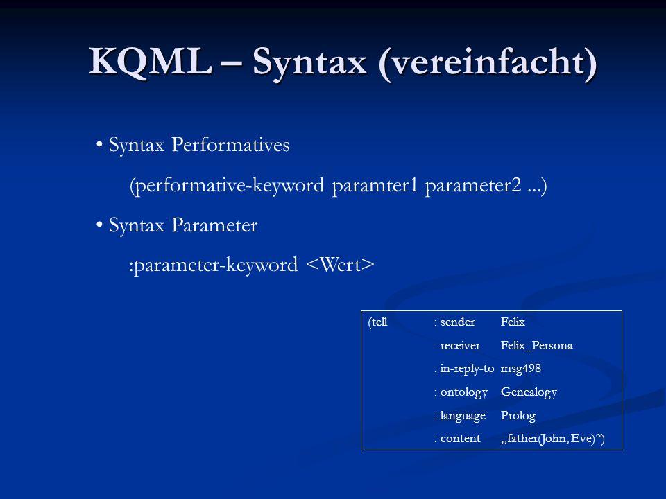 KQML - Beispiel (tell : senderFelix : receiverFelix_Persona : in-reply-tomsg498 : ontologyGenealogy : languageProlog : contentfather(John, Eve))