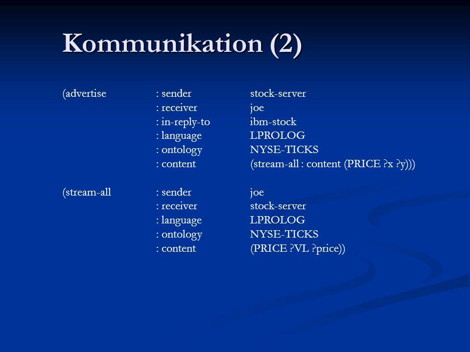 Kommunikation (1) (ask-one: sender joe : content (PRICE IBM ?price) : receiver stock-server : in-reply-to ibm-stock : language LPROLOG : ontology NYSE-TICKS) (tell: sender stock-server : content (PRICE IBM 118) : receiver joe : in-reply-to ibm-stock : language LPROLOG : ontology NYSE-TICKS)