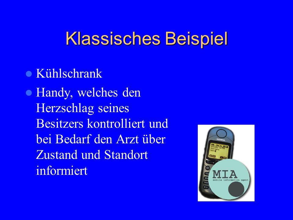 Klassisches Beispiel Kühlschrank Handy, welches den Herzschlag seines Besitzers kontrolliert und bei Bedarf den Arzt über Zustand und Standort informiert