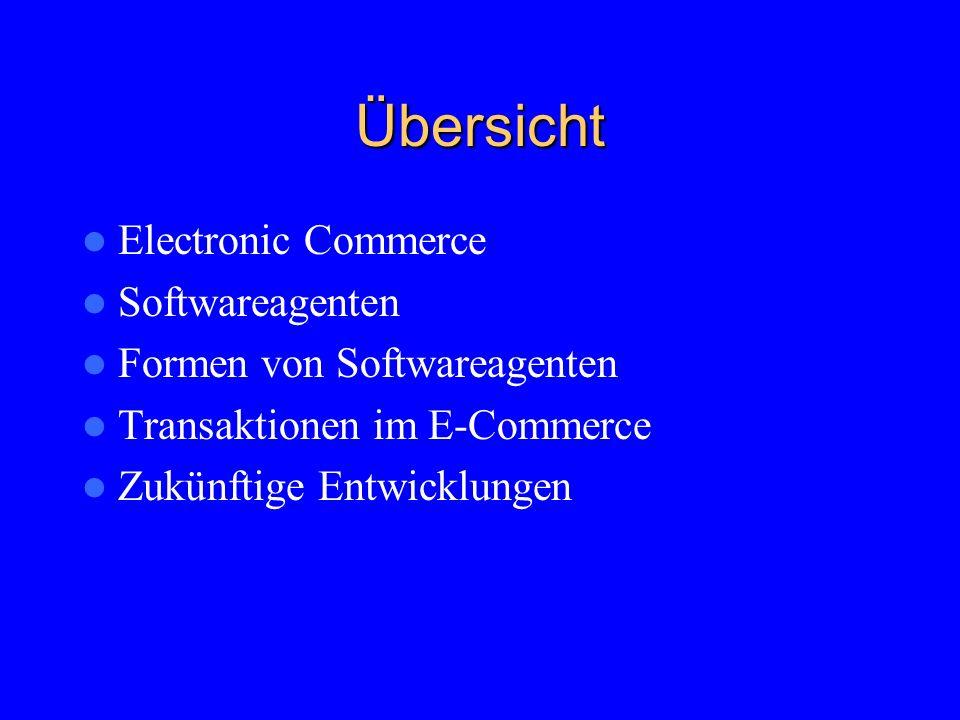 Übersicht Electronic Commerce Softwareagenten Formen von Softwareagenten Transaktionen im E-Commerce Zukünftige Entwicklungen