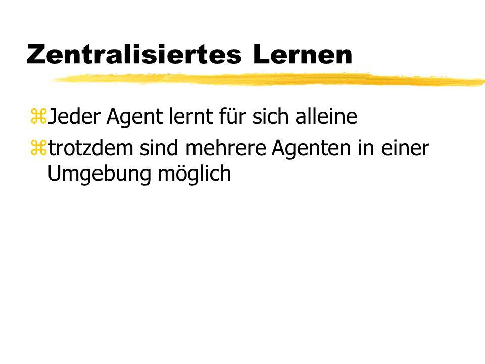 Zentralisiertes Lernen zJeder Agent lernt für sich alleine ztrotzdem sind mehrere Agenten in einer Umgebung möglich