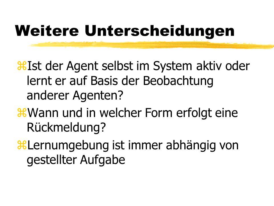 Weitere Unterscheidungen zIst der Agent selbst im System aktiv oder lernt er auf Basis der Beobachtung anderer Agenten.