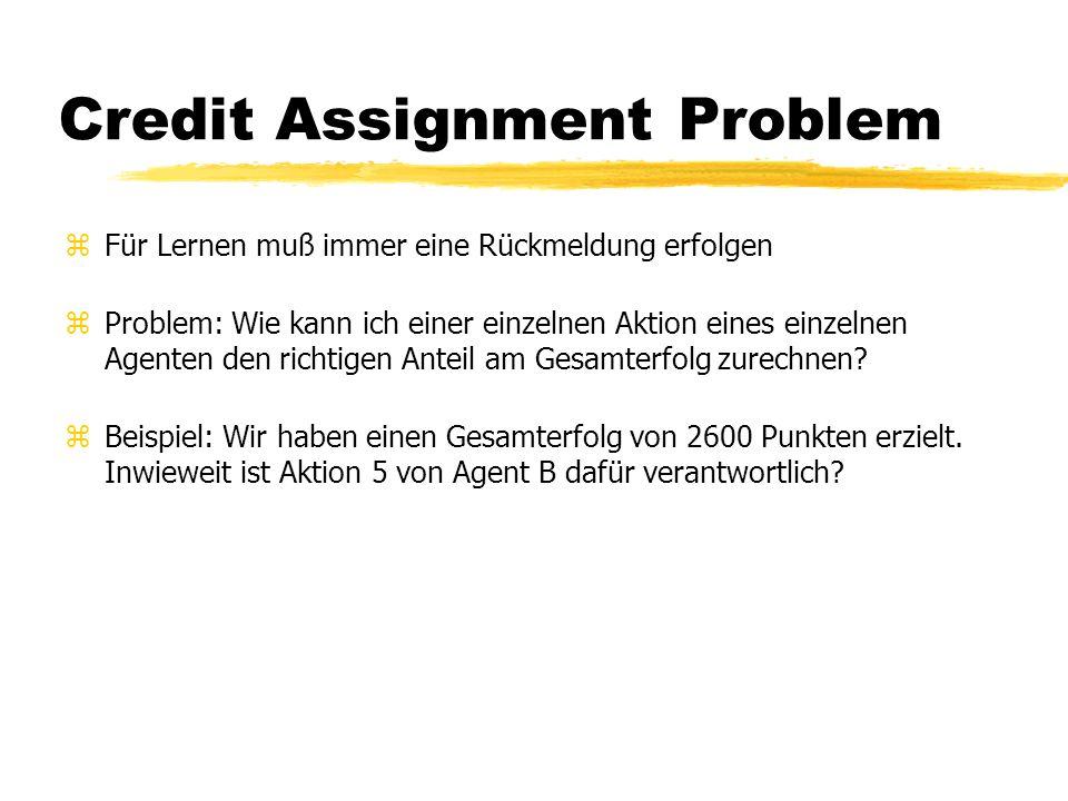Credit Assignment Problem zFür Lernen muß immer eine Rückmeldung erfolgen zProblem: Wie kann ich einer einzelnen Aktion eines einzelnen Agenten den richtigen Anteil am Gesamterfolg zurechnen.