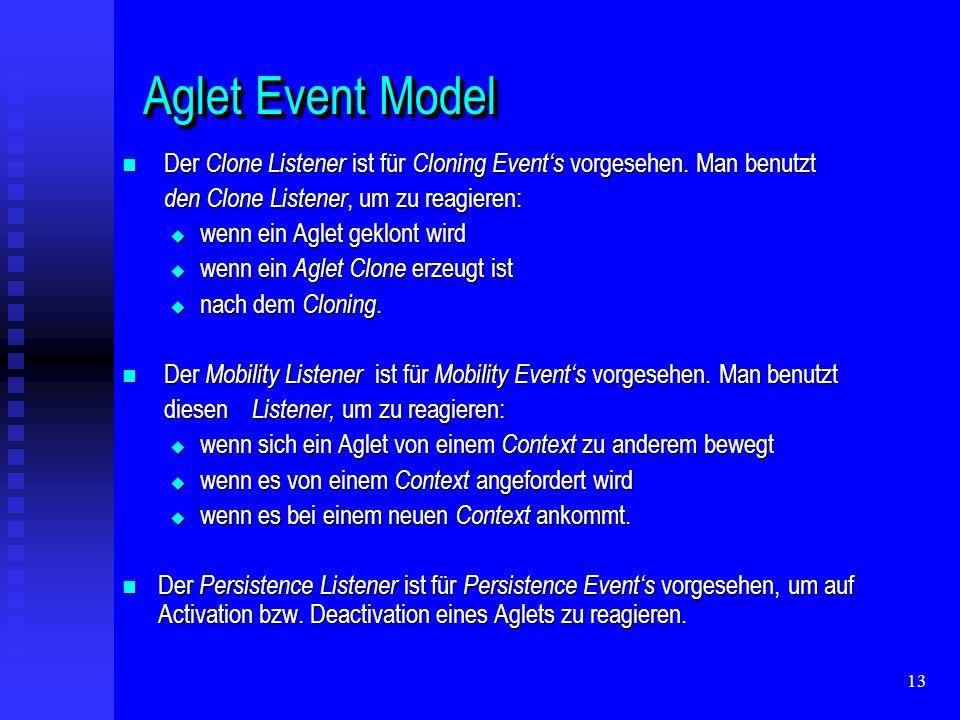 13 Aglet Event Model Aglet Event Model Der Clone Listener ist für Cloning Events vorgesehen.