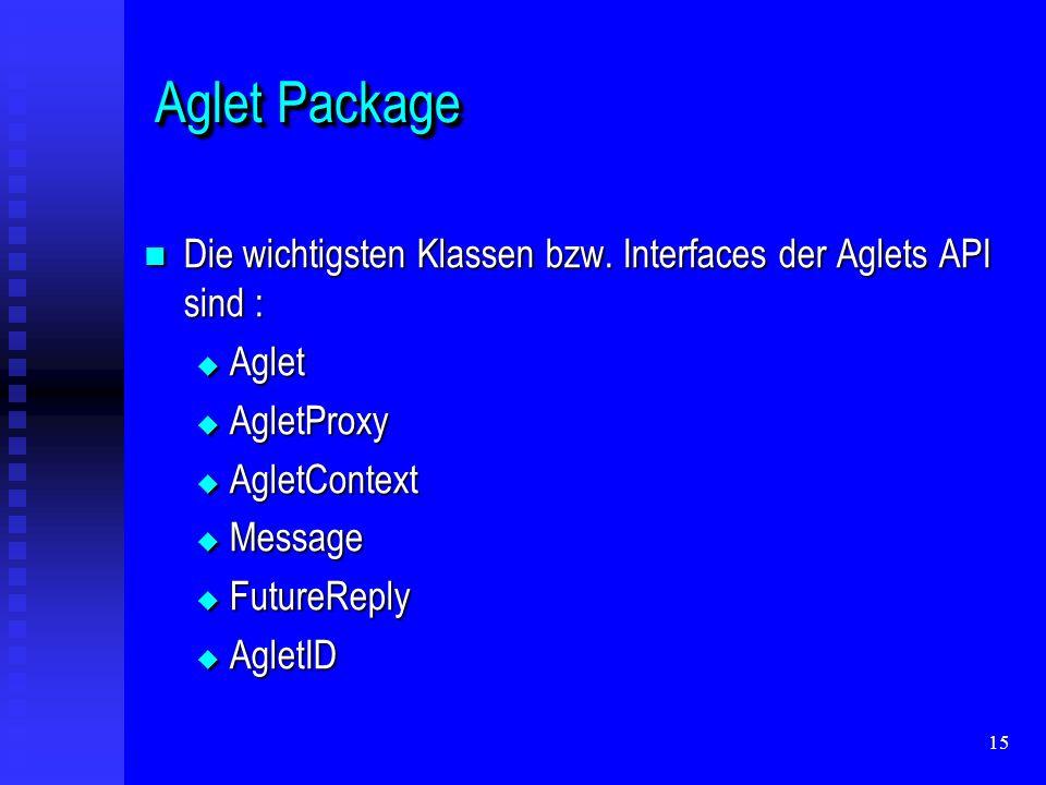 15 Aglet Package Aglet Package Die wichtigsten Klassen bzw.