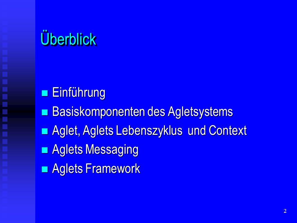 2 ÜberblickÜberblick Einführung Einführung Basiskomponenten des Agletsystems Basiskomponenten des Agletsystems Aglet, Aglets Lebenszyklus und Context Aglet, Aglets Lebenszyklus und Context Aglets Messaging Aglets Messaging Aglets Framework Aglets Framework