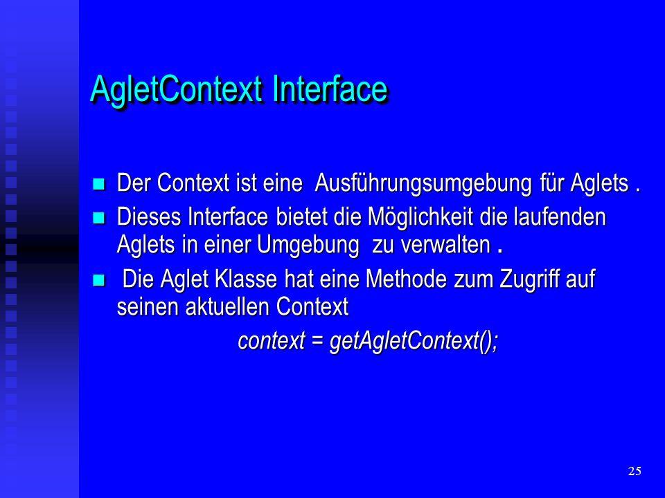 25 AgletContext Interface Der Context ist eine Ausführungsumgebung für Aglets.