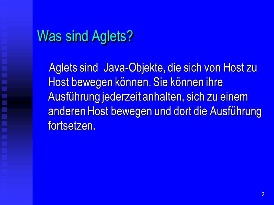 14 Aglet Communication Model Aglets kommunizieren mittels message passing.