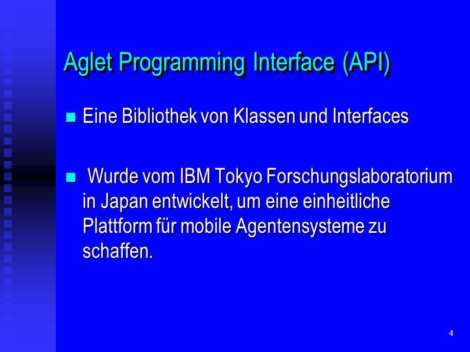 4 Aglet Programming Interface (API) Eine Bibliothek von Klassen und Interfaces Eine Bibliothek von Klassen und Interfaces Wurde vom IBM Tokyo Forschungslaboratorium in Japan entwickelt, um eine einheitliche Plattform für mobile Agentensysteme zu schaffen.