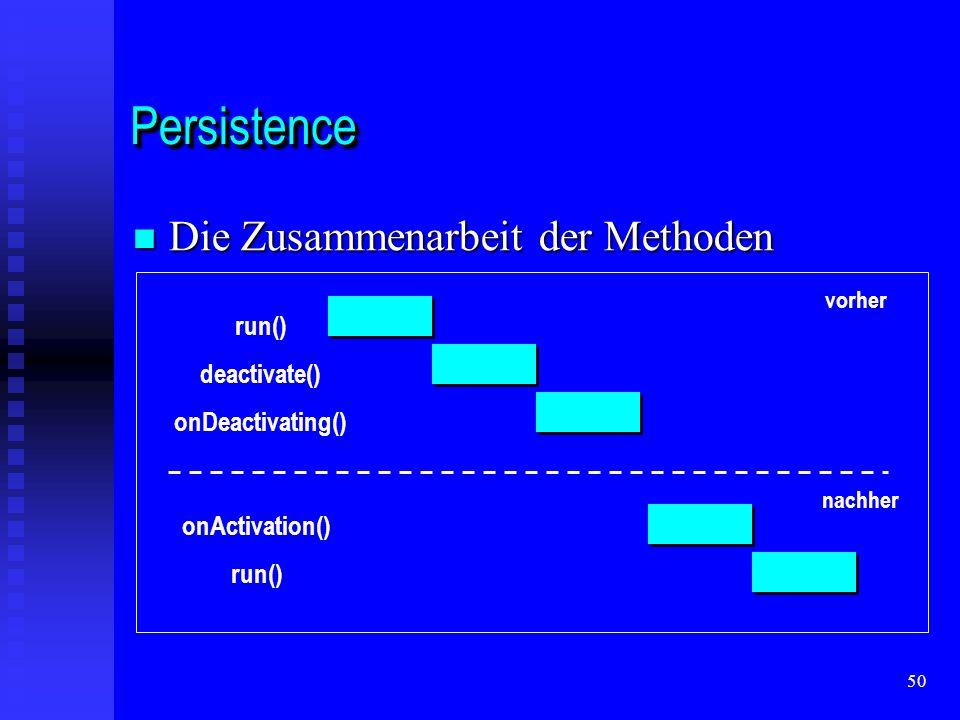 50 PersistencePersistence Die Zusammenarbeit der Methoden Die Zusammenarbeit der Methoden run() deactivate() onDeactivating() onActivation() run() vorher nachher