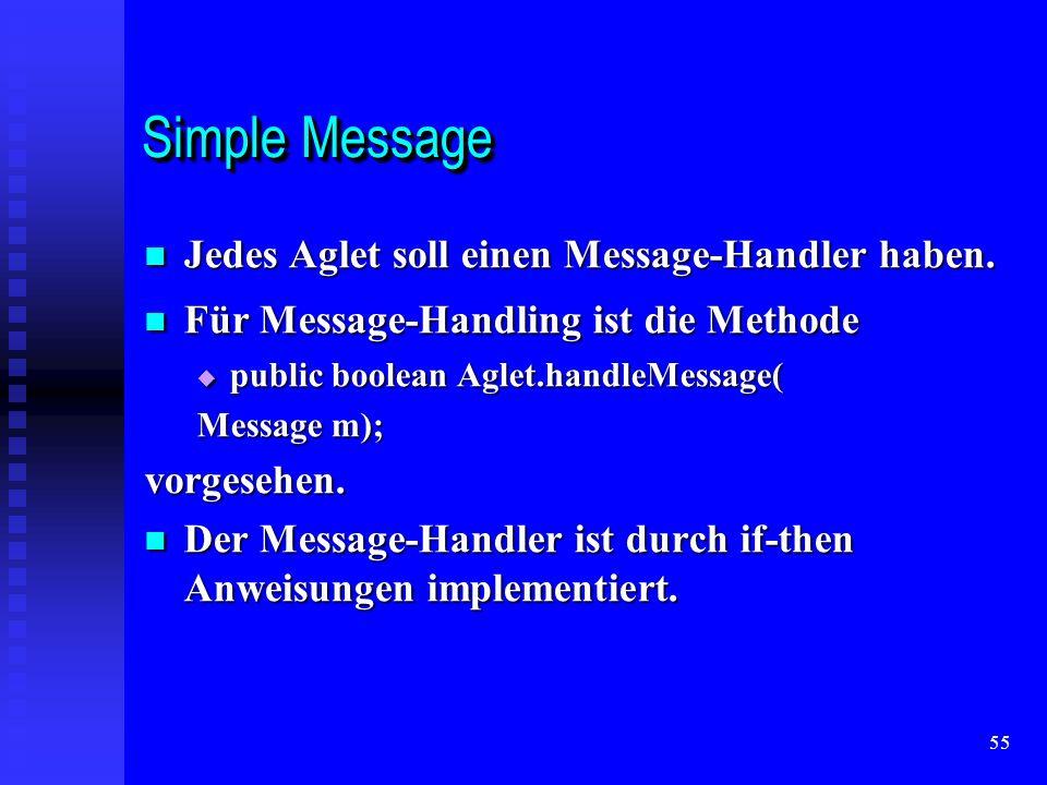 55 Simple Message Jedes Aglet soll einen Message-Handler haben.