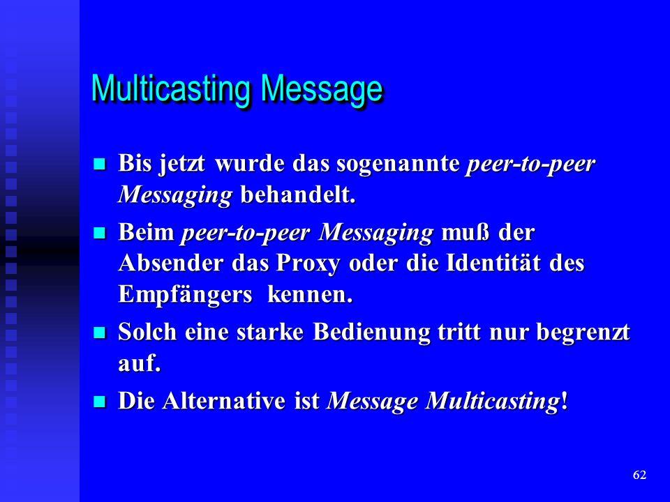 62 Multicasting Message Bis jetzt wurde das sogenannte peer-to-peer Messaging behandelt.