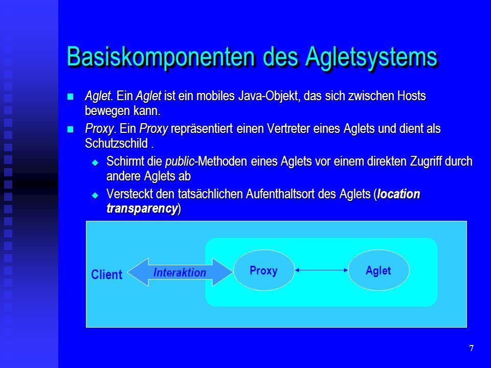 38 DisposalDisposal Das Entfernen eines Aglets aus dem Context mittels Das Entfernen eines Aglets aus dem Context mittels public final Aglet.dispose(); public final Aglet.dispose(); Das Entfernen eines Aglets kann durch Das Entfernen eines Aglets kann durch public void Aglet.onDisposing(); public void Aglet.onDisposing(); beeinflusst werden.
