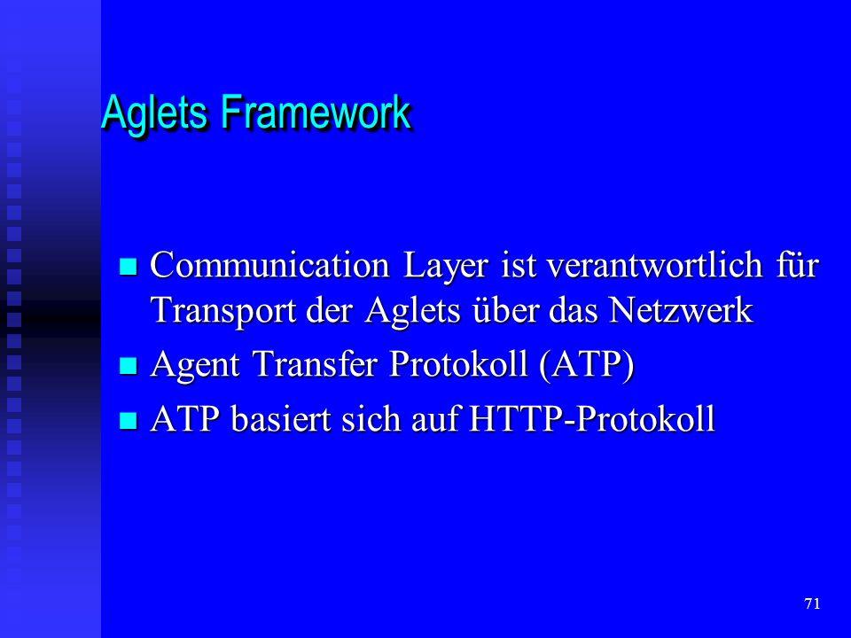 71 Aglets Framework Communication Layer ist verantwortlich für Transport der Aglets über das Netzwerk Communication Layer ist verantwortlich für Transport der Aglets über das Netzwerk Agent Transfer Protokoll (ATP) Agent Transfer Protokoll (ATP) ATP basiert sich auf HTTP-Protokoll ATP basiert sich auf HTTP-Protokoll