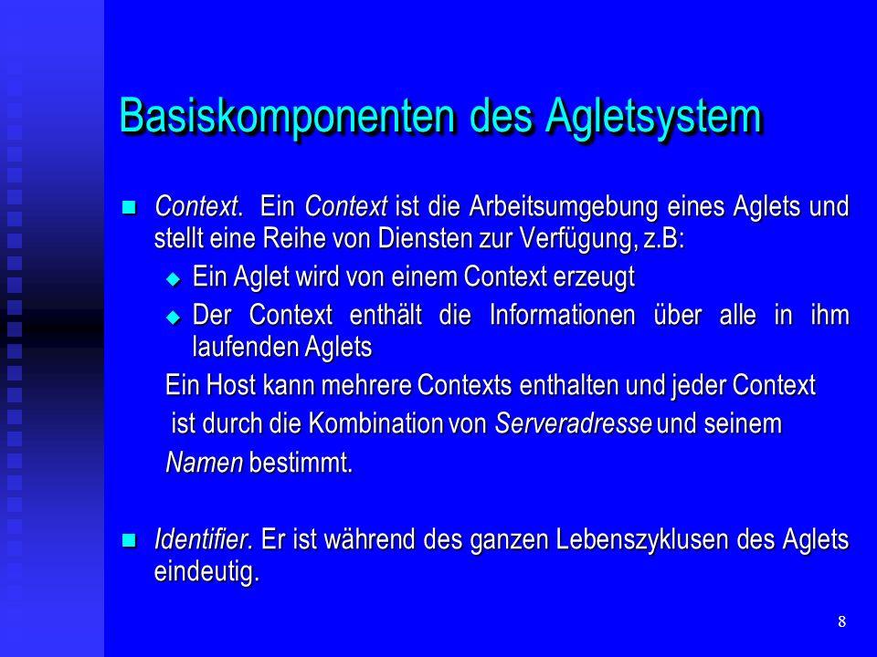 69 Aglets Framework CoreFramework: eigentliche Implementierung der Aglet API CoreFramework: eigentliche Implementierung der Aglet API zuständig für: zuständig für: Ausführung des Aglets Ausführung des Aglets De-/Serialisierung des Aglets De-/Serialisierung des Aglets Laden und Transfer von Klassen Laden und Transfer von Klassen Aglet References Aglet References