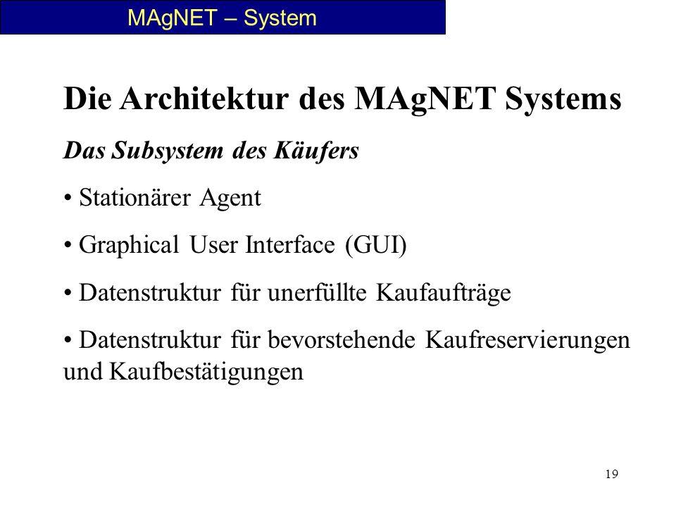 19 MAgNET – System Die Architektur des MAgNET Systems Das Subsystem des Käufers Stationärer Agent Graphical User Interface (GUI) Datenstruktur für une
