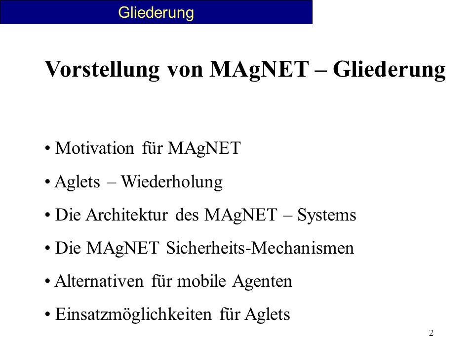 2 Gliederung Vorstellung von MAgNET – Gliederung Motivation für MAgNET Aglets – Wiederholung Die Architektur des MAgNET – Systems Die MAgNET Sicherhei