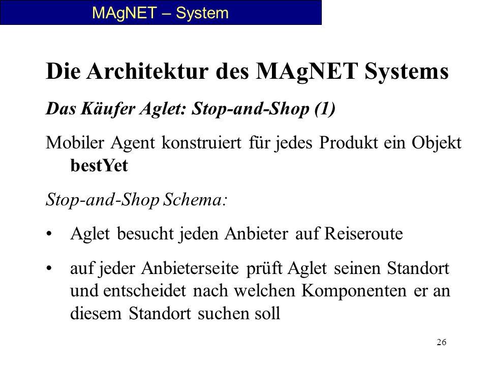 26 MAgNET – System Die Architektur des MAgNET Systems Das Käufer Aglet: Stop-and-Shop (1) Mobiler Agent konstruiert für jedes Produkt ein Objekt bestY