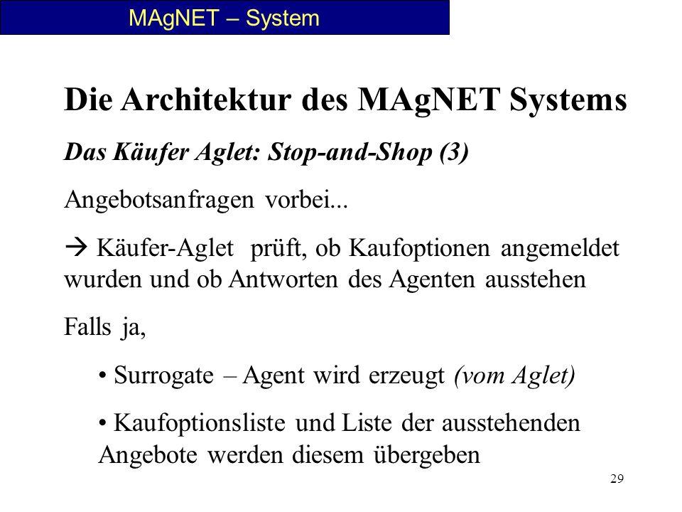 29 MAgNET – System Die Architektur des MAgNET Systems Das Käufer Aglet: Stop-and-Shop (3) Angebotsanfragen vorbei... Käufer-Aglet prüft, ob Kaufoption
