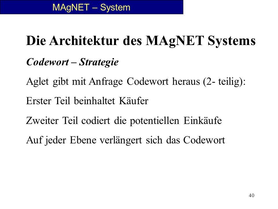 40 MAgNET – System Die Architektur des MAgNET Systems Codewort – Strategie Aglet gibt mit Anfrage Codewort heraus (2- teilig): Erster Teil beinhaltet