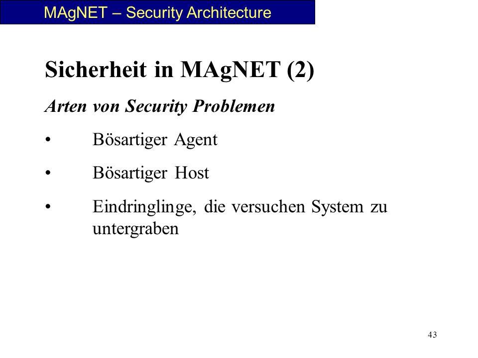 43 Sicherheit in MAgNET (2) Arten von Security Problemen Bösartiger Agent Bösartiger Host Eindringlinge, die versuchen System zu untergraben MAgNET –