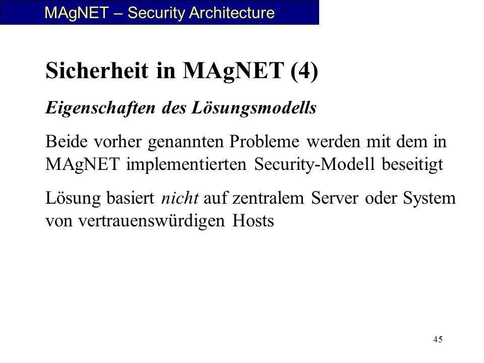 45 MAgNET – Security Architecture Sicherheit in MAgNET (4) Eigenschaften des Lösungsmodells Beide vorher genannten Probleme werden mit dem in MAgNET i