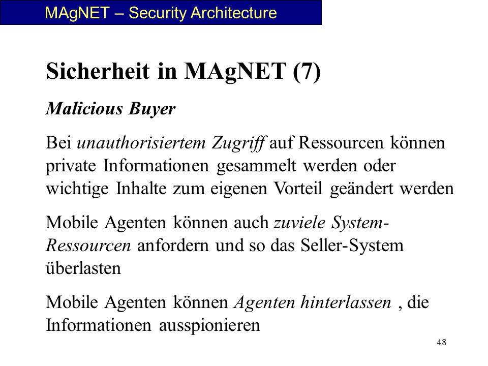 48 MAgNET – Security Architecture Sicherheit in MAgNET (7) Malicious Buyer Bei unauthorisiertem Zugriff auf Ressourcen können private Informationen ge