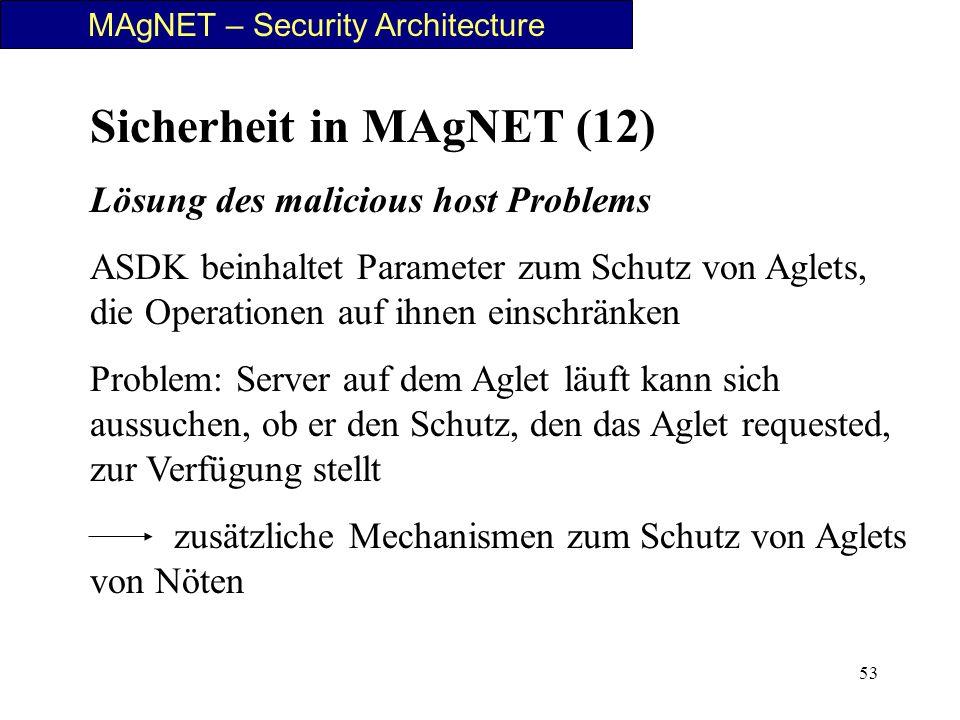 53 MAgNET – Security Architecture Sicherheit in MAgNET (12) Lösung des malicious host Problems ASDK beinhaltet Parameter zum Schutz von Aglets, die Op