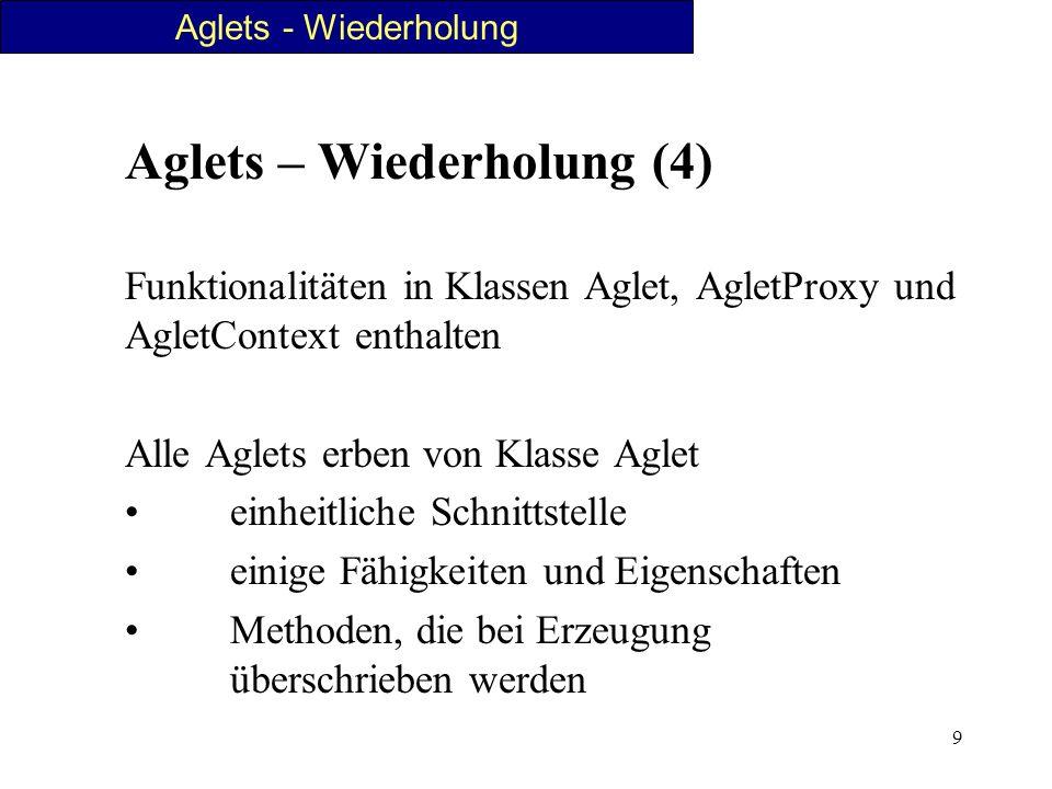 9 Aglets – Wiederholung (4) Funktionalitäten in Klassen Aglet, AgletProxy und AgletContext enthalten Alle Aglets erben von Klasse Aglet einheitliche S