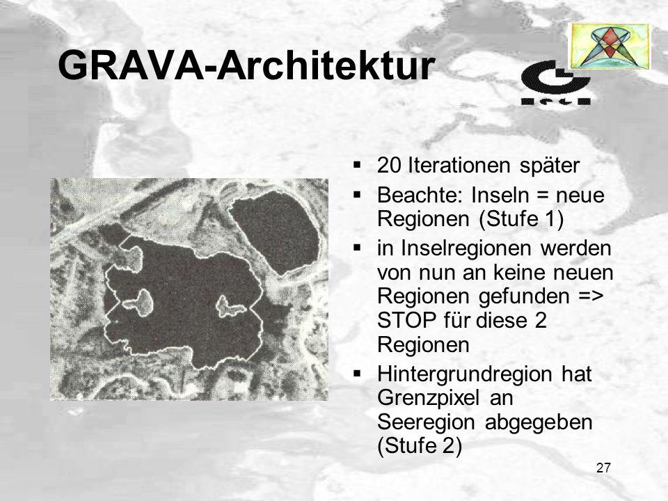 26 GRAVA-Architektur 3 Regionen: 1x Hintergrund und 2x See Beachte: Inseln gehören noch zum Hintergrund