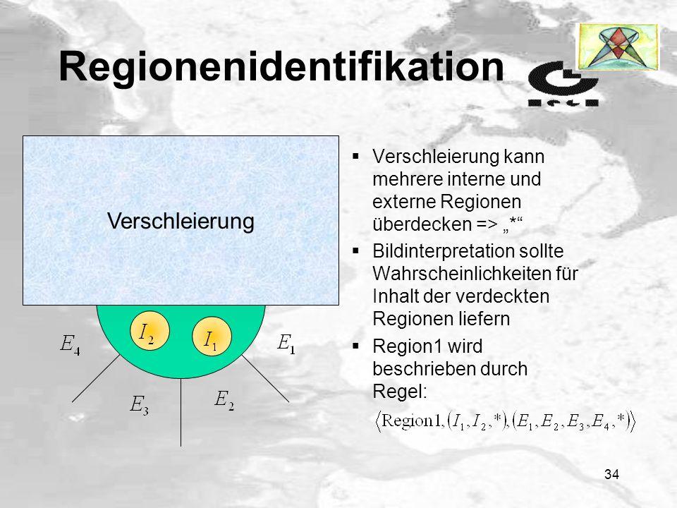 33 Regionenidentifikation es werden Regeln aus Bildern (aus dem Korpus) extrahiert, um Zusammenhänge zwischen Regionen miteinzubeziehen Region1 wird als Tripel beschrieben: Repräsentation der Regionen ist invariant bzgl.
