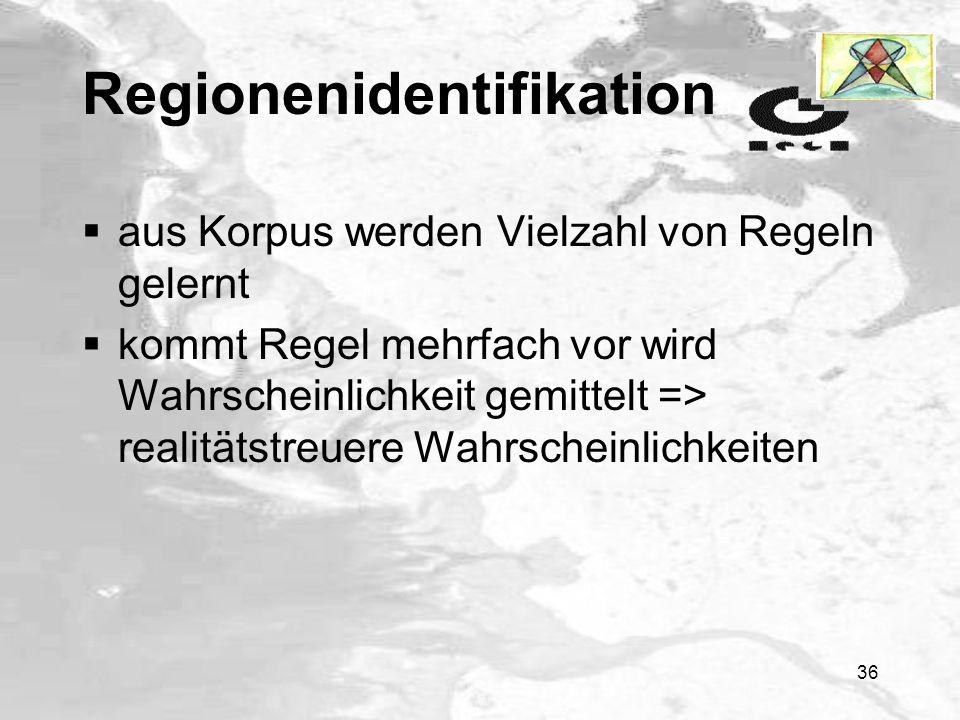 35 Regionenidentifikation Regel W. See Felder 1 Felder 2 Sumpf 1 Sumpf 2 Fel- der 3 Stadt Straße Fluß