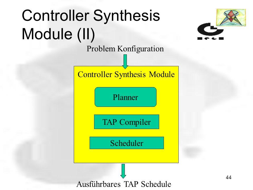 43 Controller Synthesis Module (I) Hauptaufgabe des CSM ist das Erstellen von Handlungsplänen. Das CSM ist aus den Komponenten: State Space Planner (S