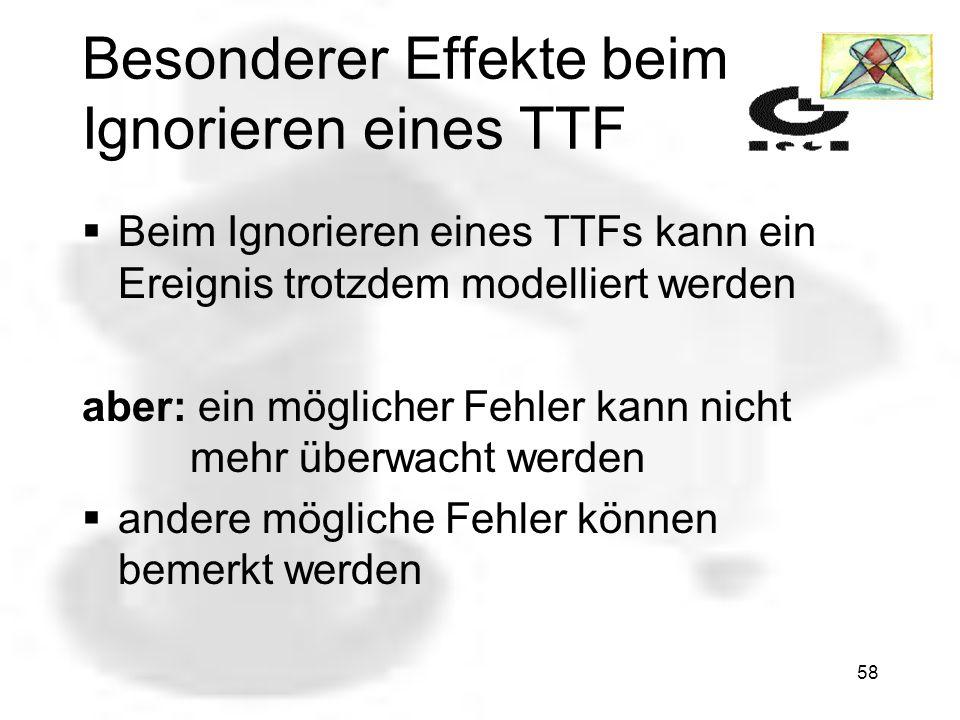 57 Ignorieren eines TTF TTF bedeutet Temporal Transition to Failure TTFs führen zu Fehlern OKThreatened Failure Safe Ein wirkungsvoller Tradeoff ist e
