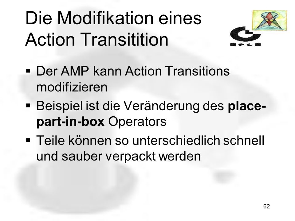 61 Nichtbeachten eines Event Transition Vorteile sind: Die Planungszeit wird reduziert Die Anzahl der TAPs wird weniger Das Scheduling wird vereinfacht (durch die Reduzierung der TAPs) =>Es erfolgt eine Geschwindigkeitsoptimierung des Systems Nachteil: weggelassene Transitionen werden nicht mehr beachtet