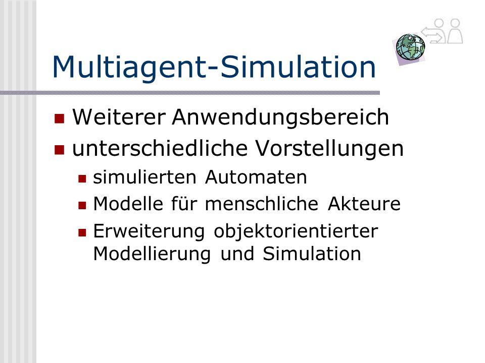 Multiagent-Simulation Weiterer Anwendungsbereich unterschiedliche Vorstellungen simulierten Automaten Modelle für menschliche Akteure Erweiterung objektorientierter Modellierung und Simulation